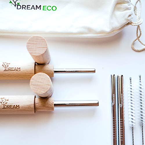 Reusable Stainless Steel Straw Set - 4 Metal Straws with Carrying Case - 2 Handcrafted Wooden Bamboo Cases - Eco Friendly Drinking Wide and Slim - Environmental Sustainable Straws Stocking Stuffer ()