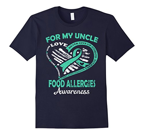 Mens For My Uncle Food Allergies Awareness T Shirt Large Navy