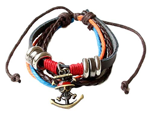 GK-O Anime One Piece Leather Bracelet MutiLayer Bangel Cuff Bangle Wristband Cosplay Costume (Straw Hat Pirates)