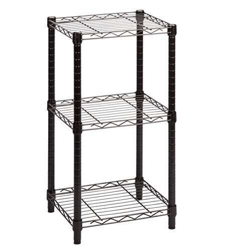 HoneyCanDo SHF-02218 3-tier black wire shelving tower 14x15x3 ()