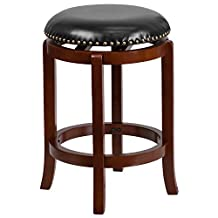 Flash Furniture 24'' Backless Light Cherry Wood Counter Height Stool with Black Leather Swivel Seat(TA-68924-LC-CTR-GG)