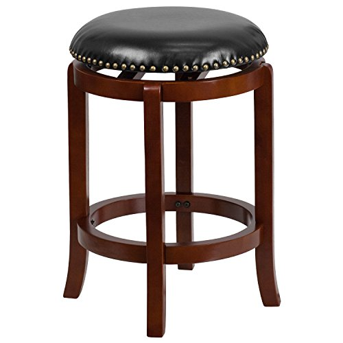 Flash Furniture 24'' High Backless Light Cherry Wood Counter Height Stool with Black Leather Swivel - Stools Black Counter Swivel Leather