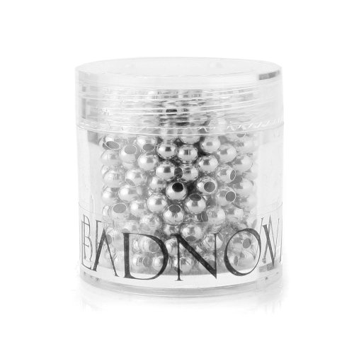 BEADNOVA 500pcs 3mm Silver Plated Smooth Brass Metal Round Beads with Container for Jewelry Making ()
