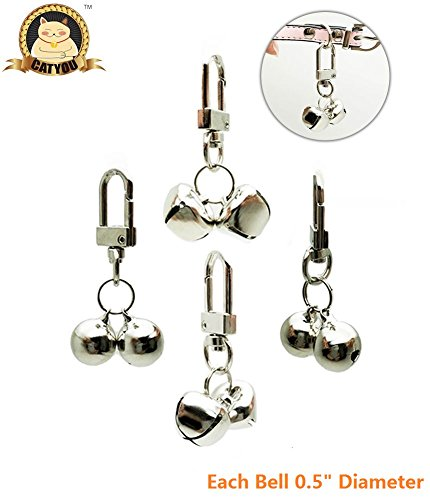 Bell Cat Dog (CatYou 4 Sets Pet Small Bells for Collar, Pet Ornament, Bell Training Pendants Jewelry for Pet Cat Dog Necklace Collar)