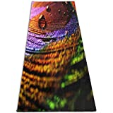 EJudge Yoga Mat Peacock Feathers Purple Stylish 1/4-Inch Thick Sports Mats for Pilates, Fitness & Workout