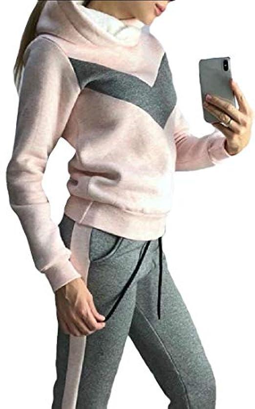 腹部優しさマルクス主義者maweisong 女性2ピース衣装セットフリースラインフーディとスウェットパンツジョギングスーツ