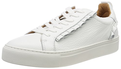 para White Mujer Slfdonna Selected White B Zapatillas Frills Leather Blanco Trainer Femme SvWBnUv0