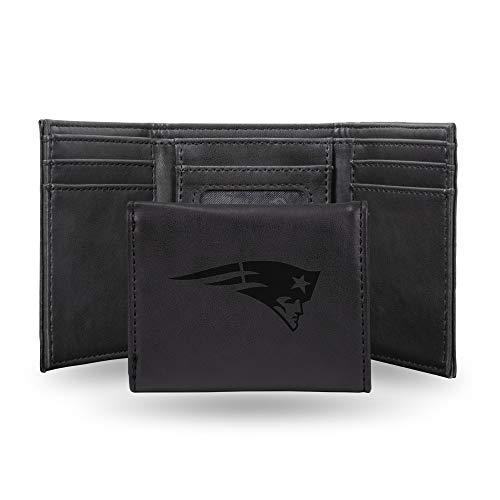NFL New England Patriots Laser Engraved Tri-Fold Wallet, Black