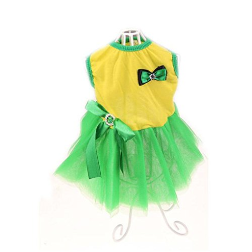 Pet Dress,Haoricu Hot Sale!Lovely Puppy Princess Dress Dog Camisole Gauze Skirt (S, Green)
