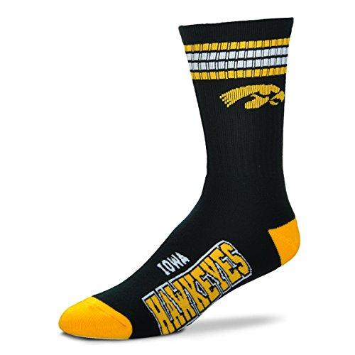 For Bare Feet Mens NCAA 4 Stripe Deuce Crew Socks, Iowa Hawkeyes, Large ()