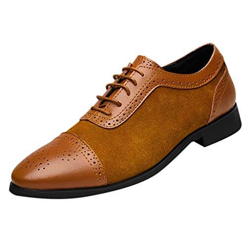 Sunyastor Men's Dress Shoes British Style Formal Leather Oxford Shoes for Men Casual Classic Modern Business Shoes Yellow