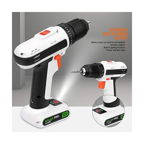 GALAX PRO Taladro atornillador de 12 V de 2 velocidades, ligero, par máximo de 25 Nm, portabrocas sin llave de 10 mm…