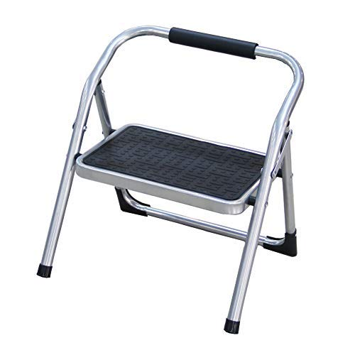Duwee Two Functions Step Stool&Chair,330-Pound Capacity (Silver) by Duwee