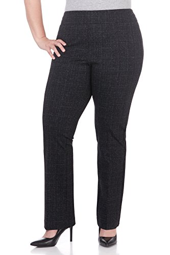 (Rekucci Curvy Woman Secret Figure Knit Bootcut Plus Size Pant w/Tummy Control (14W,Black/Charcoal Tweed))