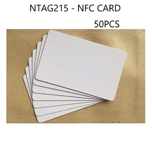 (NFC Tags NTAG215 PVC Cards,Blank Printable NTAG 215 NFC Cards,ISO Size Cards, 504 Bytes Memory Compatible with All NFC Enabled Phone-50 Pieces)