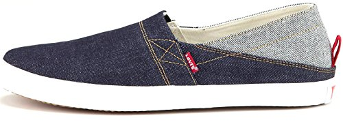 Levi's Sunset Denim White Red Canvas Mens Slip Ons Shoes