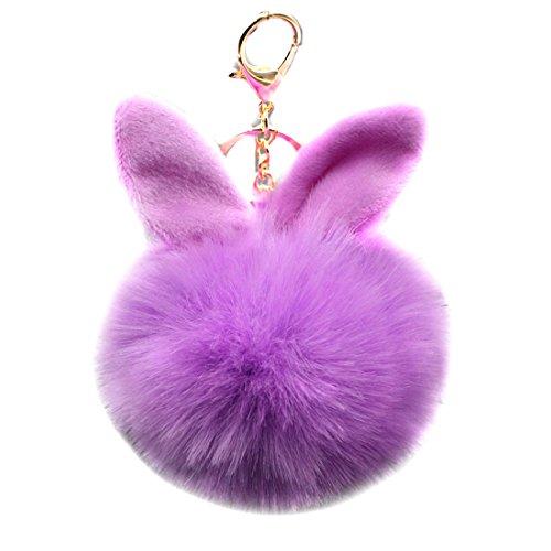 Price comparison product image URSFUR 2PCS Faux Fur Ball Pom Keychain Rabbit Ear Pendant Bag Charm Key Chain (Ball Diameter: About 8cm,  Purple)