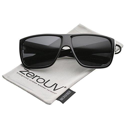 zeroUV - Men's Oversize Flat Top Wide Temple Polarized Lens Square Sunglasses 62mm (Shiny Black / Smoke - Uba Uva