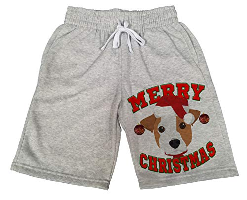 Men's Merry Christmas Jack Russell B1482 Gray Fleece Jogger Sweatpants Gym Shorts Large