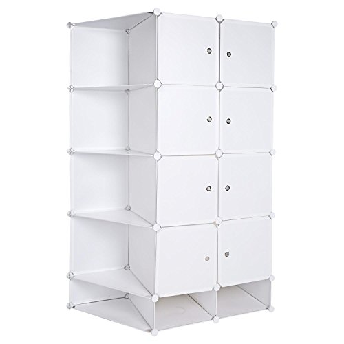 Bifast Portable Closet Clothes Wardrobe Bedroom Armoire Storage Organizer with Doors, 2 Column 5 Layer DIY Bedroom Book Toy Cabinets (Ship From US) by Bifast