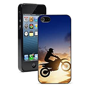 Apple iPhone 5 5S Hard Back Case Cover Color Jumping Motorcycle Motocross Rider (Black)