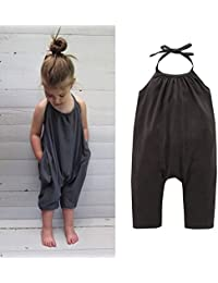9ab3ed4b20c Baby Girls Cute Grey Summer Jumpsuits for Kids Backless Harem Strap Romper  Jumpsuit Toddler Pants Size