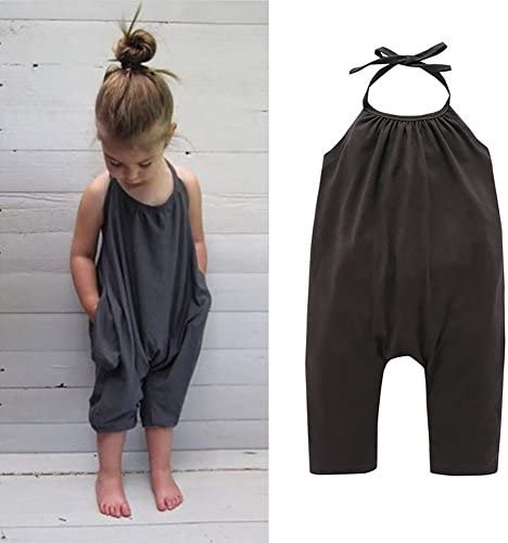 Darkyazi Baby Cute Grey Summer Jumpsuits for Girls Kids Harem Strap Romper Jumpsuit Toddler One Piece Pants Trousers Clothes Size 2-8Y (2T)