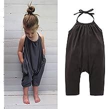 Darkyazi Baby Cute Grey Summer Jumpsuits for Girls Kids Harem Strap Romper Jumpsuit Toddler Pants Size 2-8Y