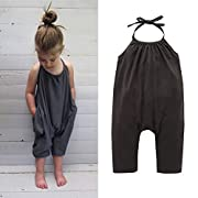 Darkyazi Baby Cute Grey Summer Jumpsuits for Girls Kids Harem Strap Romper Jumpsuit Toddler One Piece Pants Trousers Clothes Size 2-3Y (2T)