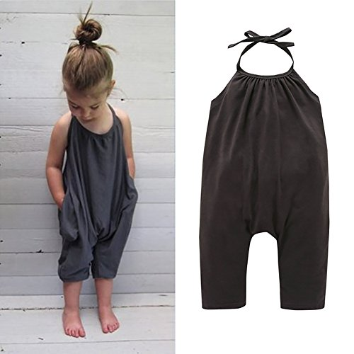 (Darkyazi Baby Girls Cute Grey Summer Jumpsuits for Kids Backless Harem Strap Romper Jumpsuit Toddler Pants Size 2-8Y (2T, Grey))