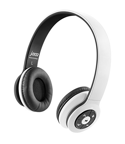 30' Bass (JAM Transit Wireless Bluetooth On-Ear Headphones, 30ft Range, Superior Bass, Big Sound, No Cords, Rechargeable Battery, Comfortable Fit, Perfect for Travel, Car, Kids, HX-HP420WT White)