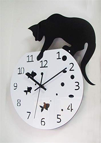SHFISIKI 3D Home Decor Acrylic Wall Clock Cat and Fish Design Big Watch Quartz Cat Clock