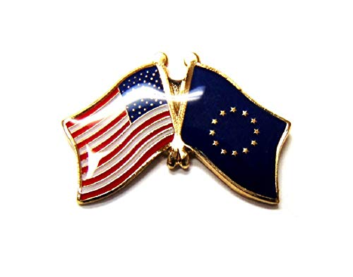 Pack of 3 European Union & US Crossed Flag Lapel Pins, EU & American Friendship Tie & Hat Pin Badges