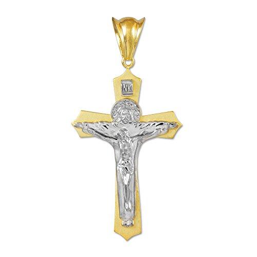 Joyara - Collier Pendentif Zweifarbige 10 ct Or Blanc Saint Crucifix