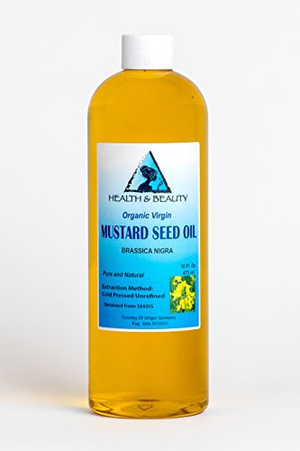 Mustard Oil Organic Unrefined by H&B OILS CENTER Raw Virgin Cold Pressed Premium Quality Natural Pure 16 oz (Best Mustard Oil For Baby Massage)