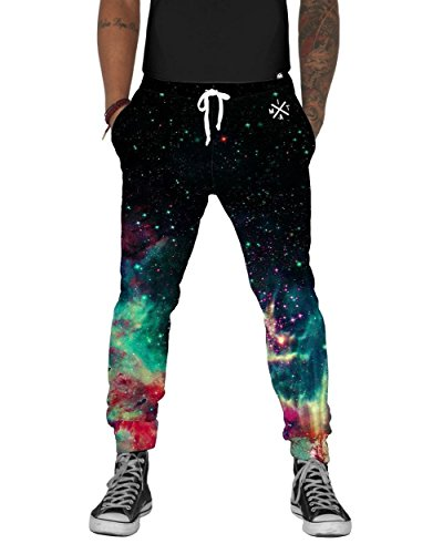 INTO THE AM Space Fade Men's Fleece Joggers Casual Sweat Pants (Medium)