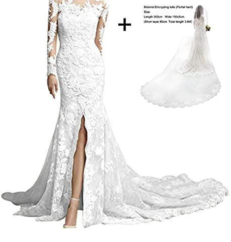 King's Love Vintage Full Lace Long Sleeve Wedding Dresses Mermaid With Slit Sexy Bridal Gowns White+veil 1 - Full Sweep Gown