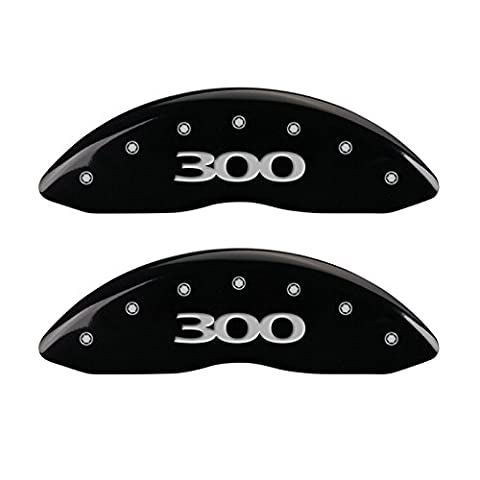 MGP Caliper Covers (32020S300BK) '300' Engraved Front and Rear Caliper Cover with Black Powder Coat Finish and Silver Characters, (Set of - Black 4 Piston Calipers