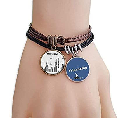 YMNW Russia City Landmark Patten Friendship Bracelet Leather Rope Wristband Couple Set Estimated Price -