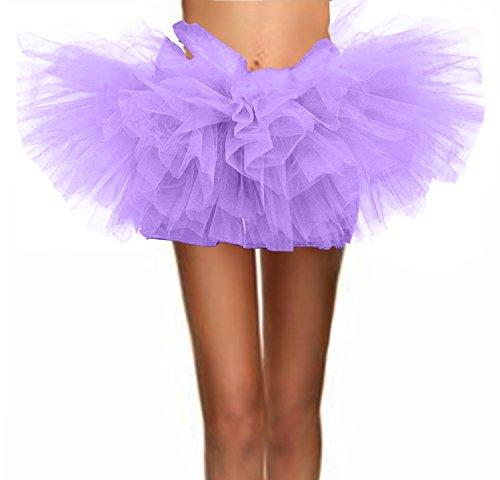 T-Crossworld Women's Classic 5 Layered Puffy Mini Tulle Tutu Bubble Ballet Skirt Lavender Plus
