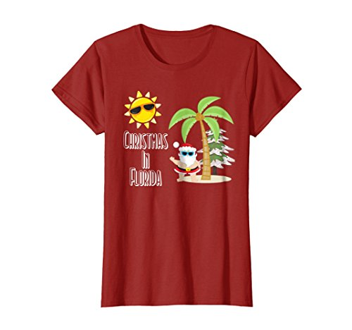 Womens Merry Christmas Florida Style T Shirt Santa Summer Beach Large Cranberry