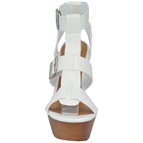 Breckelles Women? Renee-21 Open Toe Strappy Buckle Platform Chunky Heel Sandal, White, 7.5 M US