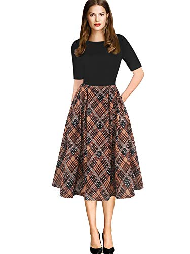 oxiuly Women's Vintage Plaid Patchwork Pockets Puffy Swing Casual Party Work Dress OX165 (XL, Khaki Plaid PT)