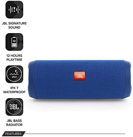 JBL Flip 4 Waterproof Portable Bluetooth Speaker with Powerful Portable 12600mAh Battery Pack – Blue