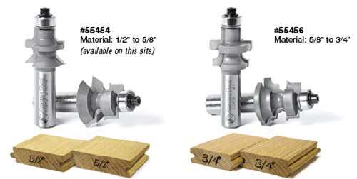 Amana Tool 55456 2-PC Carbide Tipped Flooring 1-13//64 D x 15//16 CH x 1//2 Inch SHK Router Bit Set w//Nail Slot w//Lower BB for 5//8-3//4 Material