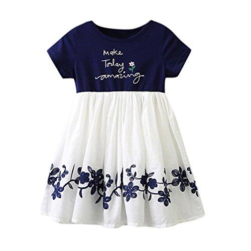 Ugood 2018 Children's Girls Short-Sleeved Letters Embroidered Flowers Dress Princess Dress (Dark Blue, Size:4T) - Bench Girls Jacket