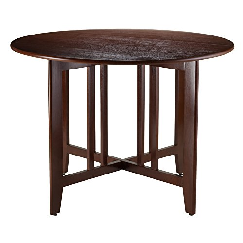 Winsome Wood Alamo, , Double Drop Leaf, Round Table Mission, Walnut, 42-Inch (Small Dining Wood Table)