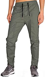THE AWOKEN Men's Chino Jogger Cargo Construction Pants Slim and Tapered Fit Ankle