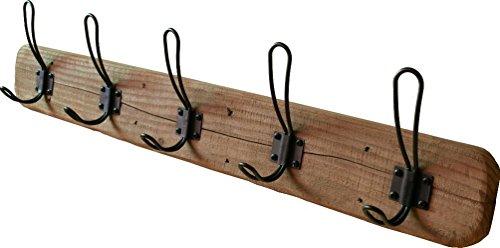 "- Rustic Wall Mounted Coat Rack - 5 Antique Black Hooks, 28"" Length – Farmhouse Wall Decor, Barnwood House Entryway Mount Hangers, Handmade by Acacia Grove"