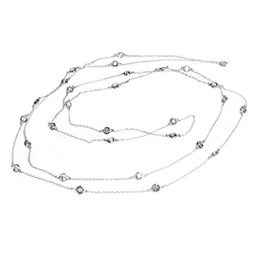 Queenberry Sterling Silver Round Clear Cubic Zirconia Link Long Chain Necklace 54''